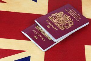 uk bio passport and flag