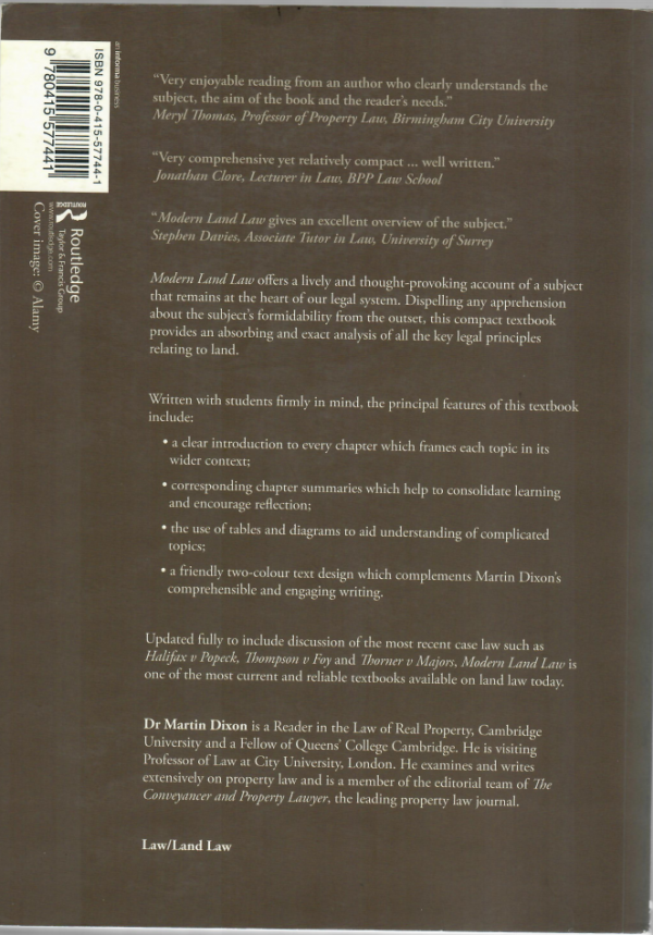 Modern Land law by Martin Dixon - Seventh edition back